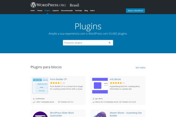 Pagina principal de Plugins WordPress
