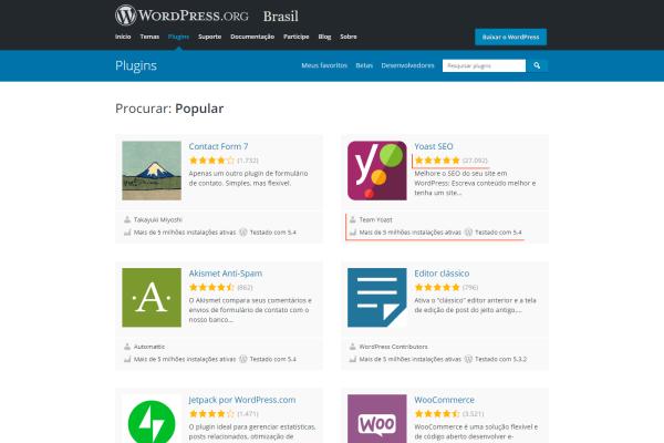 Pagina de Plugins WordPress populares