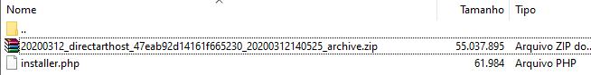 Localizar o arquivo zip antes de migrar o WordPress